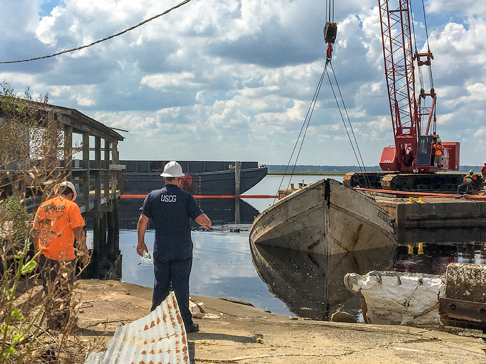 St. Mary's, GA, September 28, 2017 -- The 60 foot passenger ferry The Cumberland Queen was being raised from St. Mary's River where it sunk during Hurricane Irma. The Cumberland Queen is one of only two passenger ferries that provide the only access to Cumberland Island. Photo by Liz Roll/FEMA News Photo